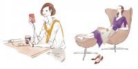 イラストレーション ファッションイラスト ファッションイラストレーション illustration fashionillistration 商業施設 ライフスタイル おしゃれ シンプル インテリア 暮らし 線画 吉岡ゆうこ