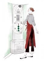 イラストレーション ファッションイラスト ファッションイラストレーション illustration fashionillistration 商業施設 お店 店員 ライフスタイル おしゃれ シンプル インテリア 暮らし 線画 吉岡ゆうこ