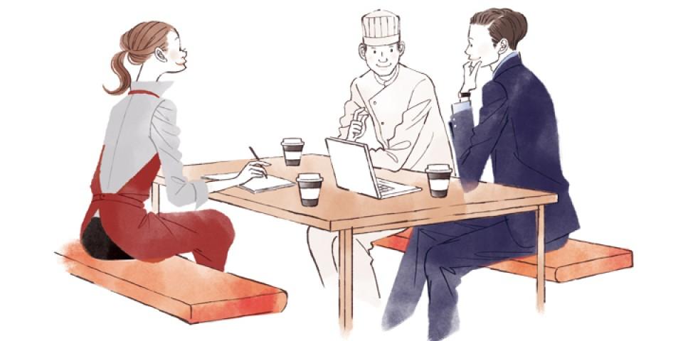 イラストレーション ファッションイラスト ファッションイラストレーション illustration fashionillistration 商業施設 お店 店員 打ち合わせ 社内 ライフスタイル おしゃれ シンプル インテリア 暮らし 線画 吉岡ゆうこ