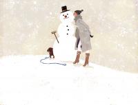 illustration fashionillustration イラストレーション イラスト drawing ファッションイラスト ファッション 雪 雪だるま 冬 寒中見舞い 犬 yukoyoshioka 吉岡ゆうこ