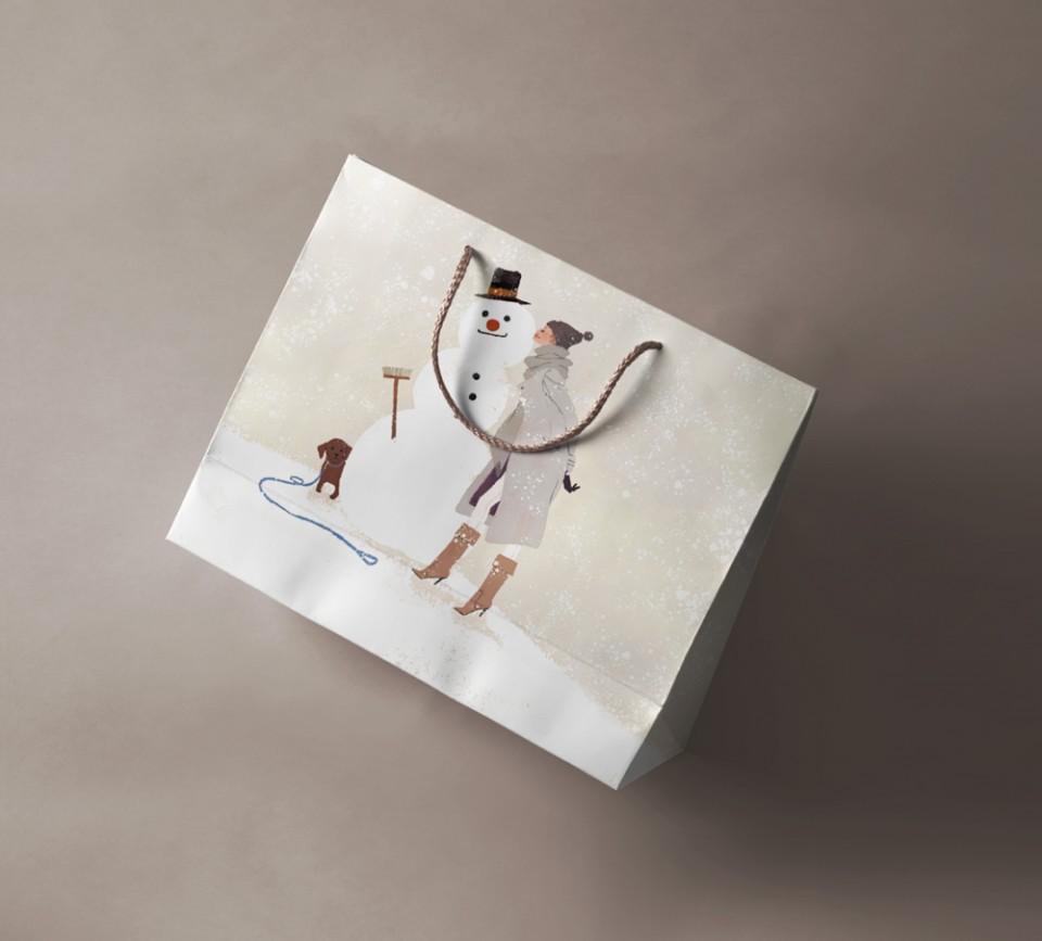 illustration fashionillustration イラストレーション イラスト drawing ファッションイラスト ファッション 雪 雪だるま 冬 寒中見舞い 犬 紙袋デザイン モックアップ yukoyoshioka 吉岡ゆうこ