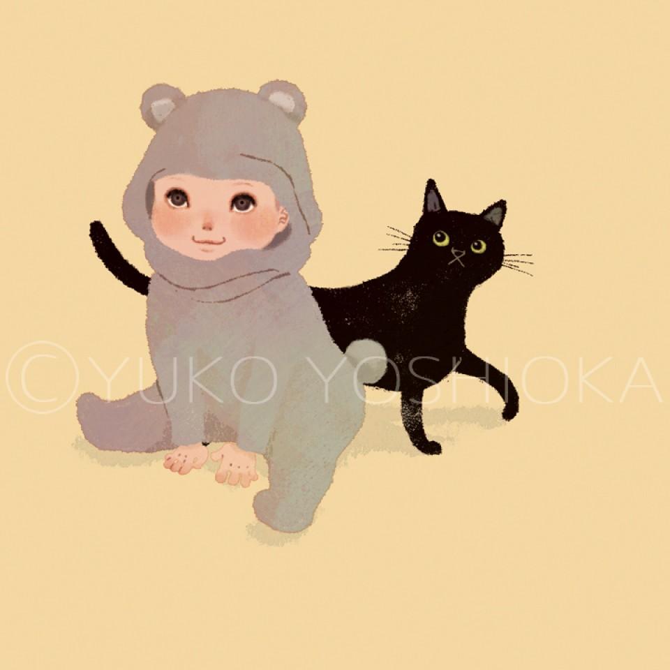 illustration fashionillustration イラストレーション イラスト drawing ファッションイラスト ファッション 赤ちゃん ベビー服 ネコ クロネコ かわいい yukoyoshioka 吉岡ゆうこ