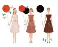 ファッションイラスト イラストレーション イラスト webコラムイラスト コラムイラスト ワコールBODYBOOK 美容 コスメ 紫外線 スキンケア ライフスタイル 生活 風船 小鳥 抽象イラスト 吉岡ゆうこ