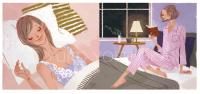 ファッションイラスト イラストレーション イラスト おしゃれ 上品 ベッドルーム 読書 夜 パジャマ リラックス ライフスタイル 生活 ワコールスタイル wacoalstyle webサイトイラスト 吉岡ゆうこ