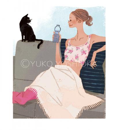 ファッションイラスト イラストレーション イラスト おしゃれ 上品 インテリア ソファ 朝 黒猫 猫 爽やか パジャマ リラックス ライフスタイル 生活 ワコールスタイル wacoalstyle webサイトイラスト 吉岡ゆうこ