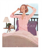 ファッションイラスト イラストレーション イラスト おしゃれ 上品 インテリア ベッドルーム ベッド 朝 爽やか パジャマ リラックス ライフスタイル 生活 ワコールスタイル wacoalstyle webサイトイラスト 吉岡ゆうこ
