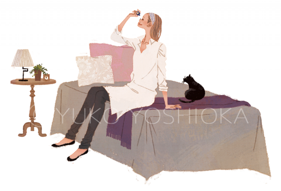 ファッションイラスト イラストレーション イラスト webコラムイラスト コラムイラスト ワコールBODYBOOK 教えてドクター 美容 瞳のケア ライフスタイル 生活 ベッドルーム インテリア 黒猫 ペット ライフスタイル 生活 吉岡ゆうこ