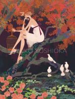illustration fashionillustration イラストレーション イラスト drawing ファッションイラスト ファッション 森 景色 風景 森 ドレス 鳩 鳥 抽象 紅葉 不思議な yukoyoshioka 吉岡ゆうこ