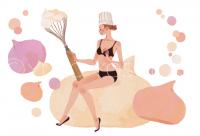 ファッションイラスト イラストレーション イラスト webコラムイラスト コラムイラスト ワコールBODYBOOK 教えてドクター バスト かわいい お菓子作り 抽象イラスト 吉岡ゆうこ