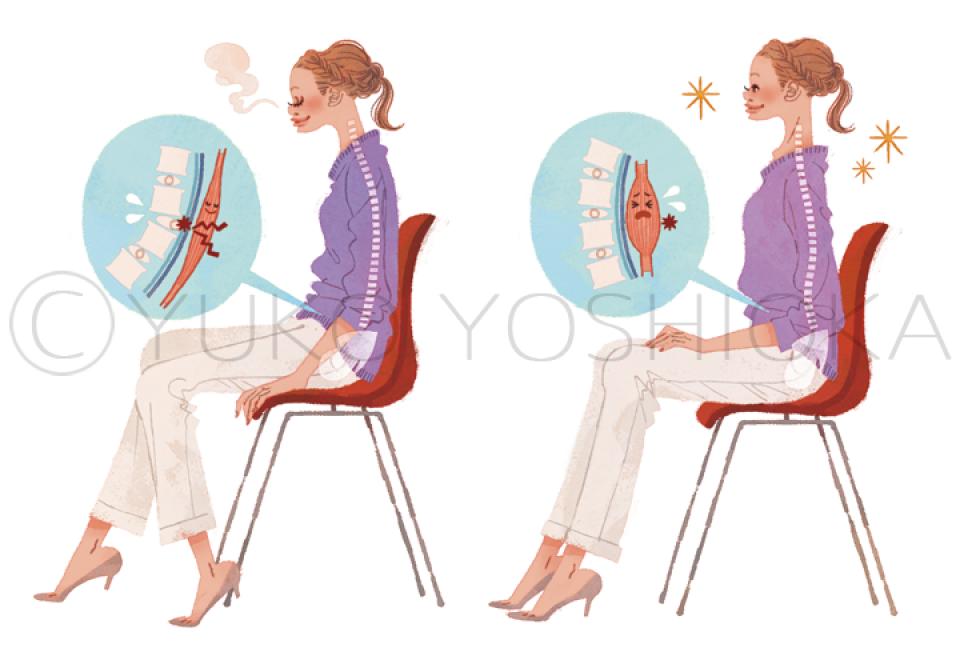 ファッションイラスト イラストレーション イラスト webコラムイラスト コラムイラスト ワコールBODYBOOK 教えてドクター 背骨 姿勢 座り方 説明カット 吉岡ゆうこ