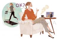 ファッションイラスト イラストレーション イラスト webコラムイラスト コラムイラスト ワコールBODYBOOK 教えてドクター 背骨 姿勢 運動 リラックス 説明カット 吉岡ゆうこ