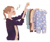 女性イラスト ファッションイラスト 赤ちゃん 洗濯物 生活 物干し たまごクラブ 可愛い おしゃれ ライフスタイル 吉岡ゆうこ