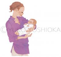 女性イラスト ファッションイラスト 赤ちゃん 抱っこ布団 たまごクラブ 今月のHitアイテム 可愛い おしゃれ ほのぼの お母さん ライフスタイル 吉岡ゆうこ